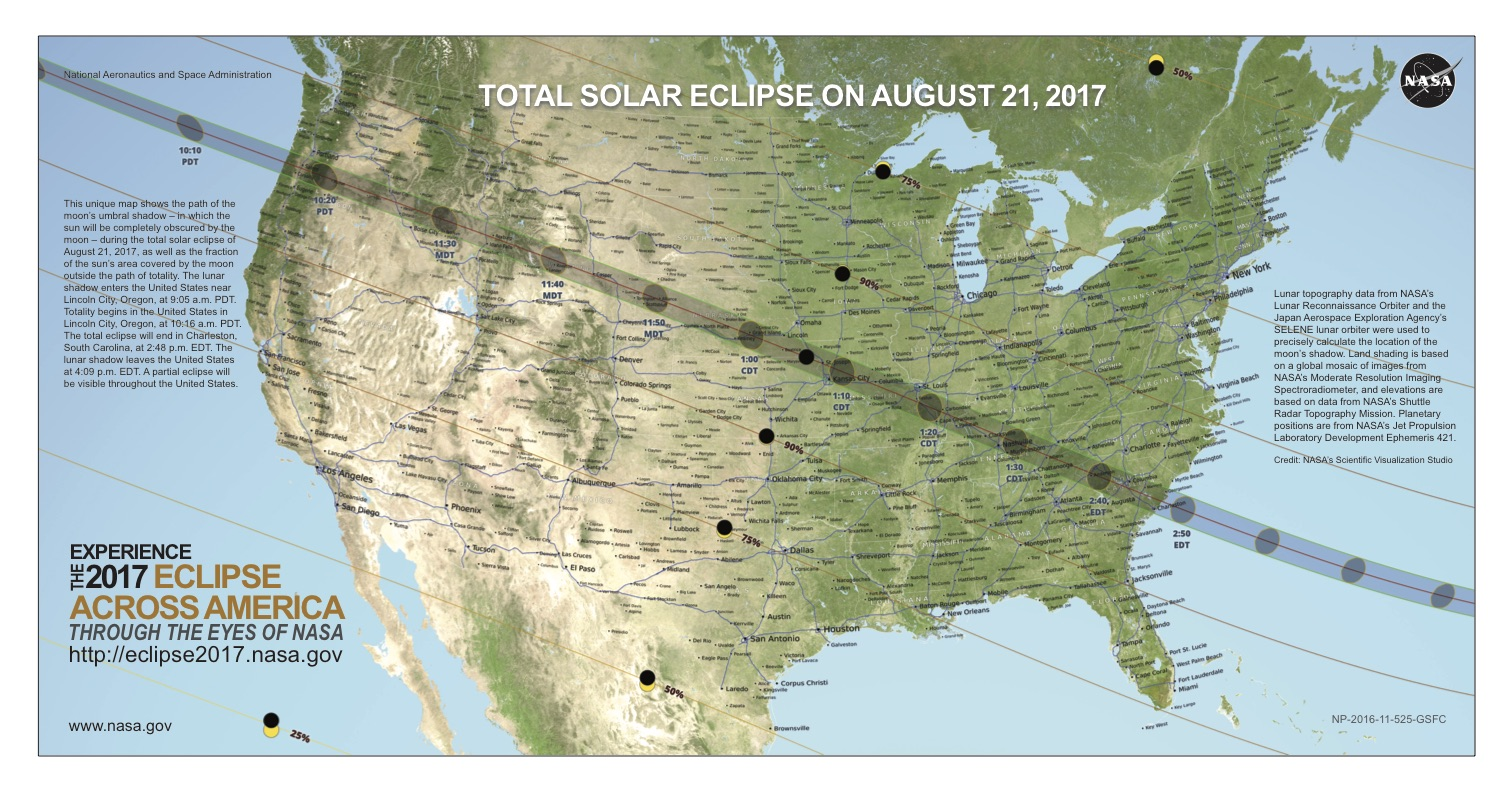 Us Map With Solar Eclipse Line Of Totality Drawn Across From Upper Left To Lower Right