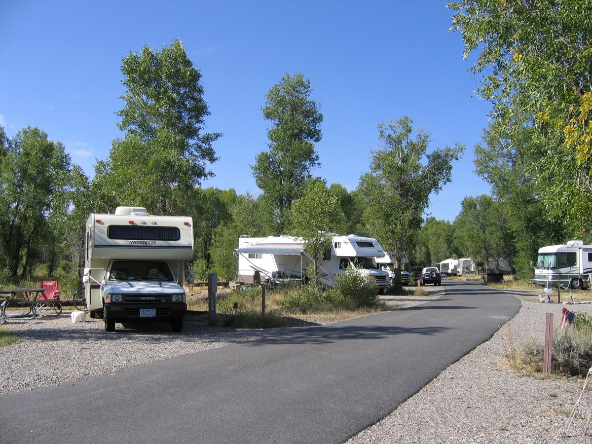 Multiple RV's parked in a campground.