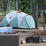 Tent in park campground