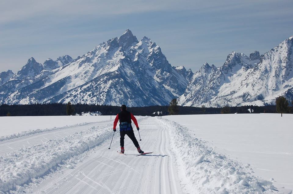 A cross country skier skies down a snow trail towards mountains.