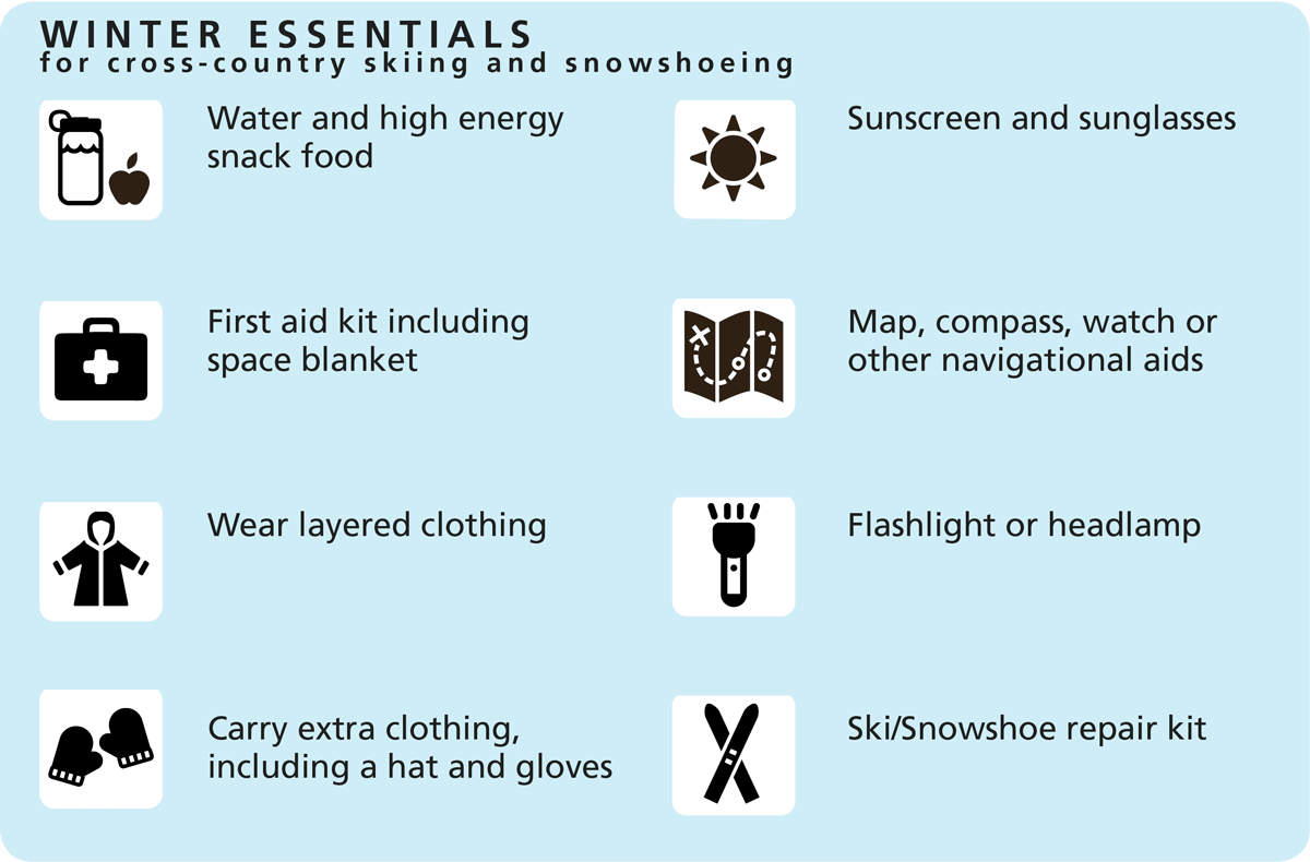 Winter Essentials for cross-country skiing and snoeshoeing: Water and high energy snack food, First aid kit including space blanket,Wear layered clothing, Carry extra clothing, including a hat and gloves, Sunscreen and sunglasses, Map, compass, watch
