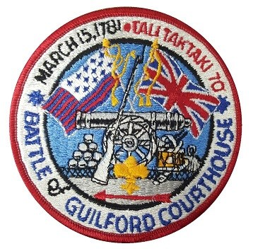 Embroidered boy scout patch of Guilford Militia flag and Union Jack, with cannons and cannonballs