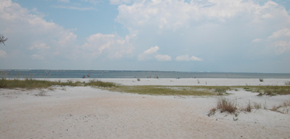 White sandy beaches and quiet bay waters are typical of the Okaloosa Day Use Area in Florida.