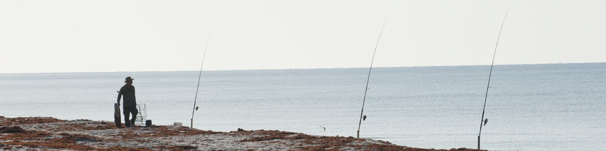 A man walks along the beach near three fishing poles staked in the beach.