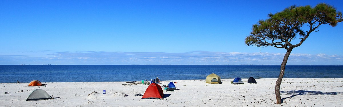 Tents are setup along a white sand beach.
