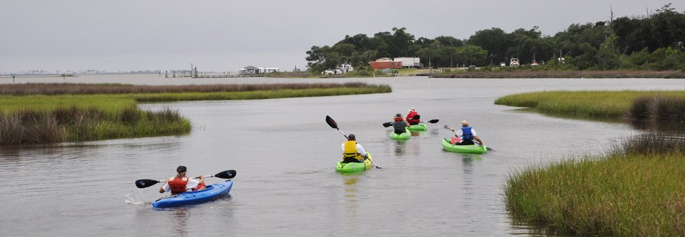 Kayakers paddle through a salt marsh toward open water.