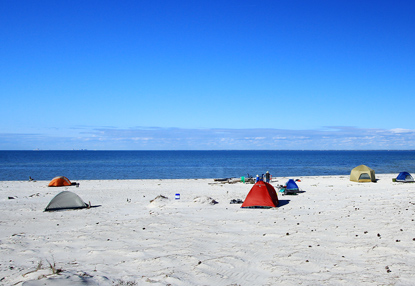 5 tents camping on beach near water