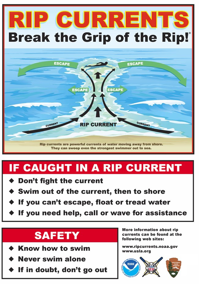 Sign with a graphic showing how to survive a rip current.