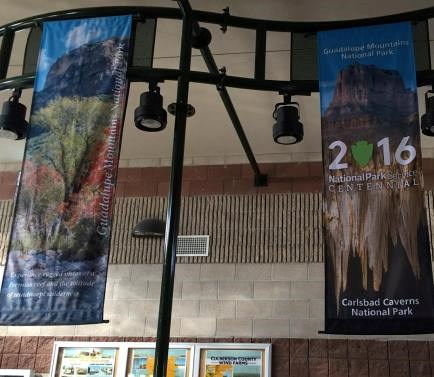 Centennial banners in the TX rest area
