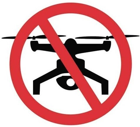 An icon of a drone with a red circle and bar across it
