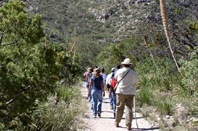 Many groups come to the Guadalupes to hike.