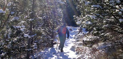 Hiking the highcountry in fresh winter snow.