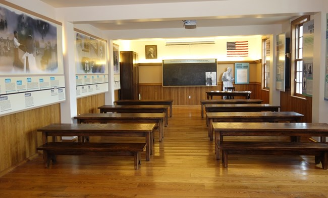 The park's history classroom is designed as a period one-room school.