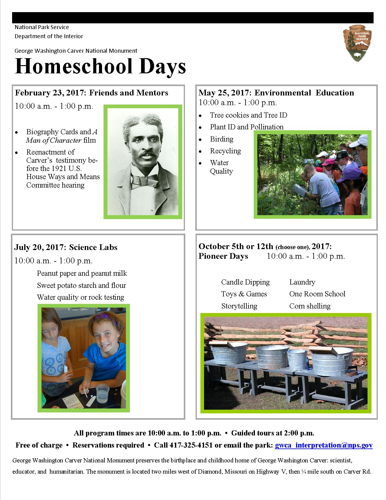 plan a field trip george washington carver national monument poster for homeschool days at the park the poster has four pictures one of