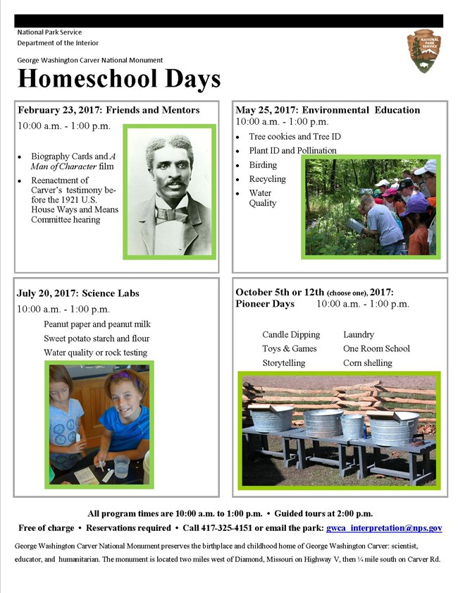 Poster for homeschool days at the park. The poster has four pictures: one of George Washington Carver; two of kids, and one of wash tubs.