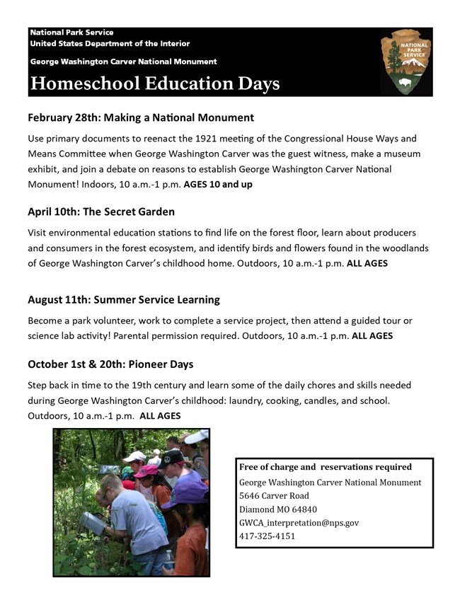 Photograph of young students observing plants on the Carver trail. The image include information and schedule for Homeschool Days 2020.