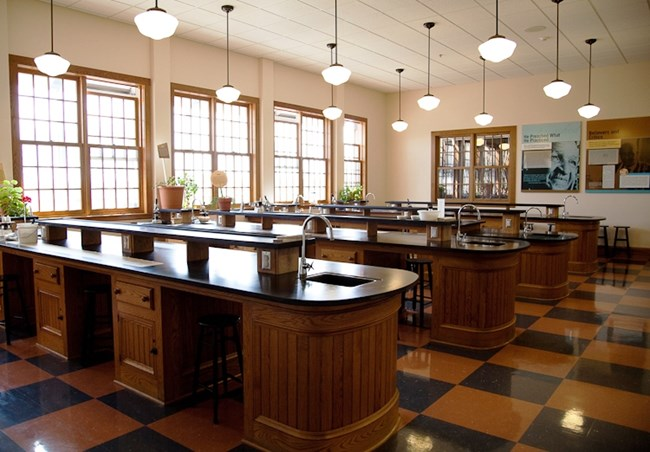 Modeled after one of George Washington Carver's labs at Tuskegee Institute, the science classroom offers various activities and education programs.