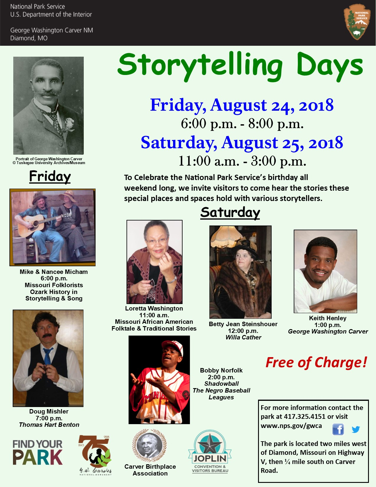 The photograph is for a special event at the park. The image includes a photo of George Washington Carver and 6 pictures of storytellers. There is also informational text and logos for the event.