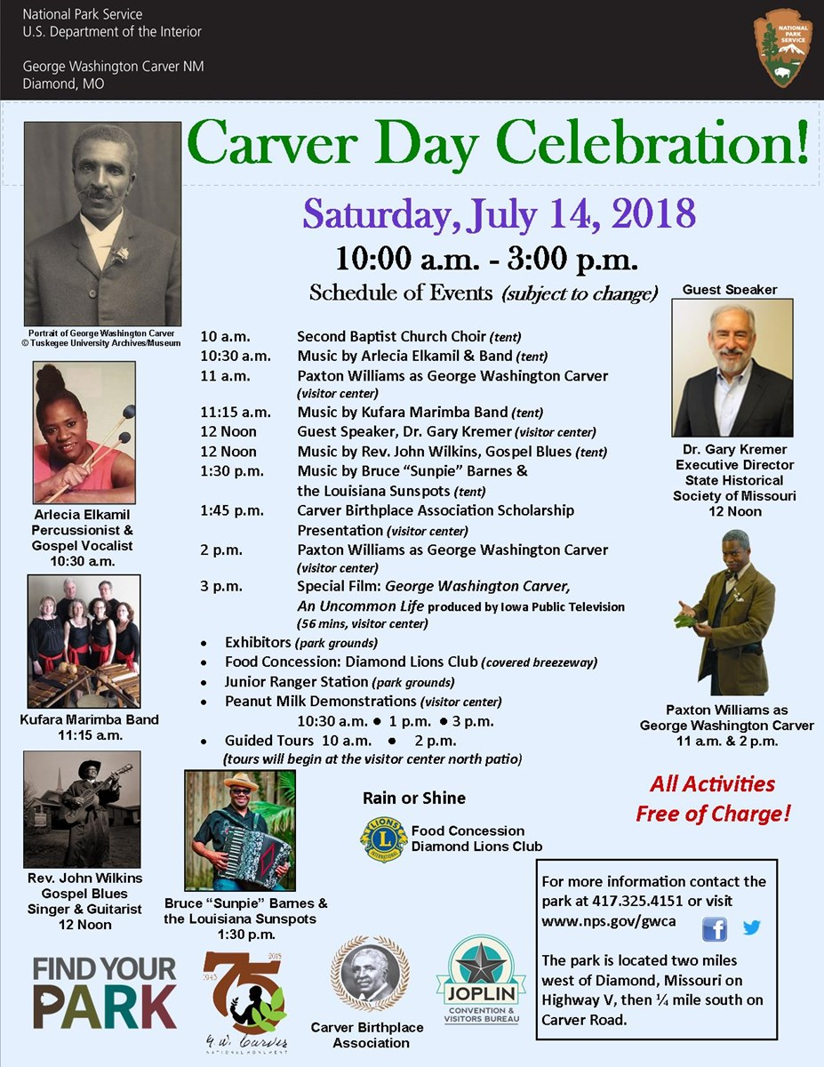 The image is for a park special event: Carver Day. The photograph includes additional images of guest speakers and music performers. There is also color logos and text-schedule of events.