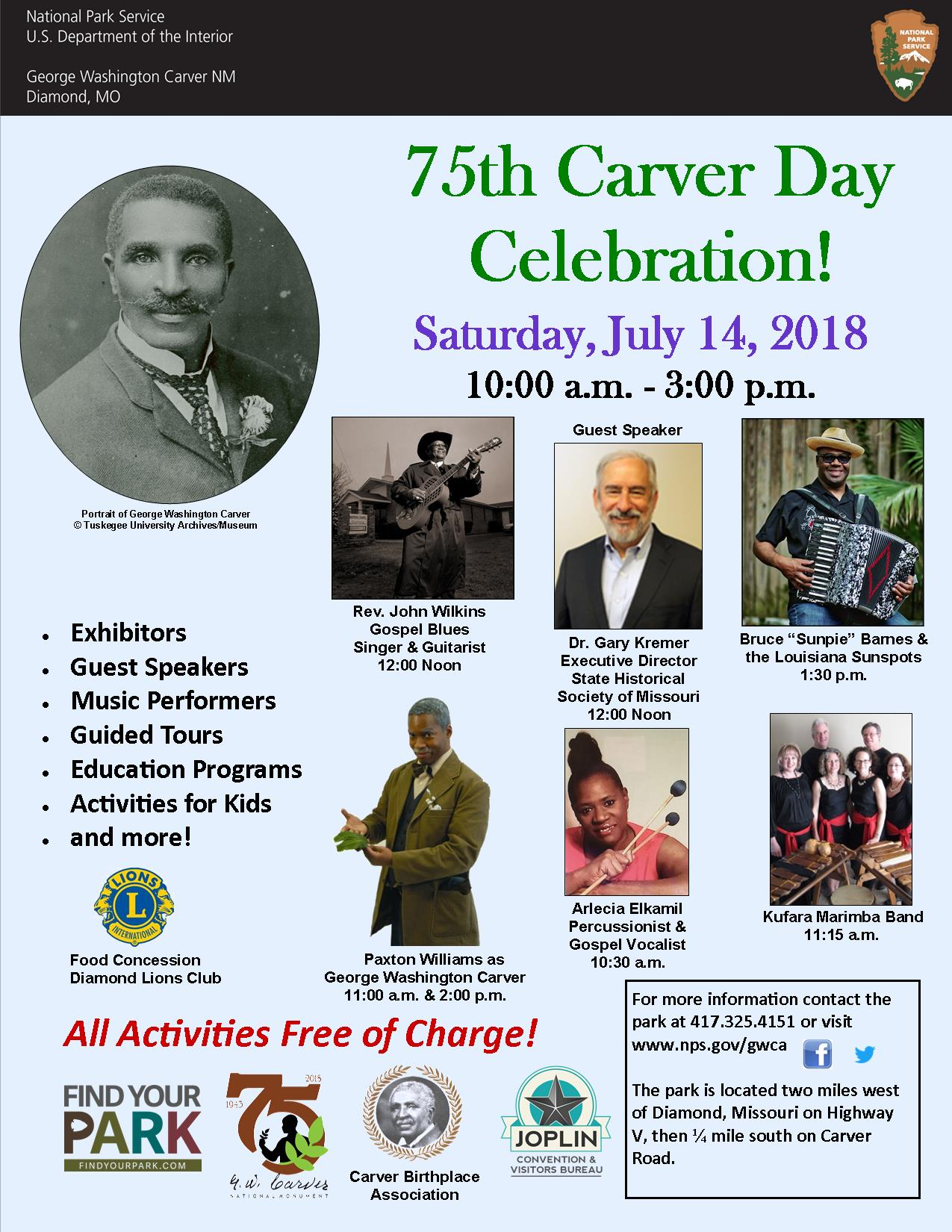 The photograph is for a park special event: Carver Day 2018. The poster includes several images of guests for the event as well as informational text.