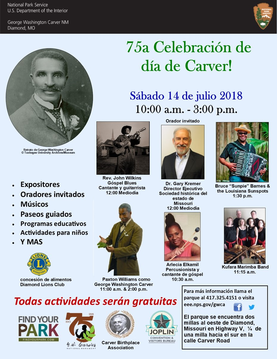 The image is for an upcoming park special event: Carver Day 2018. The information is in Spanish with photographs of guest speakers and performers.