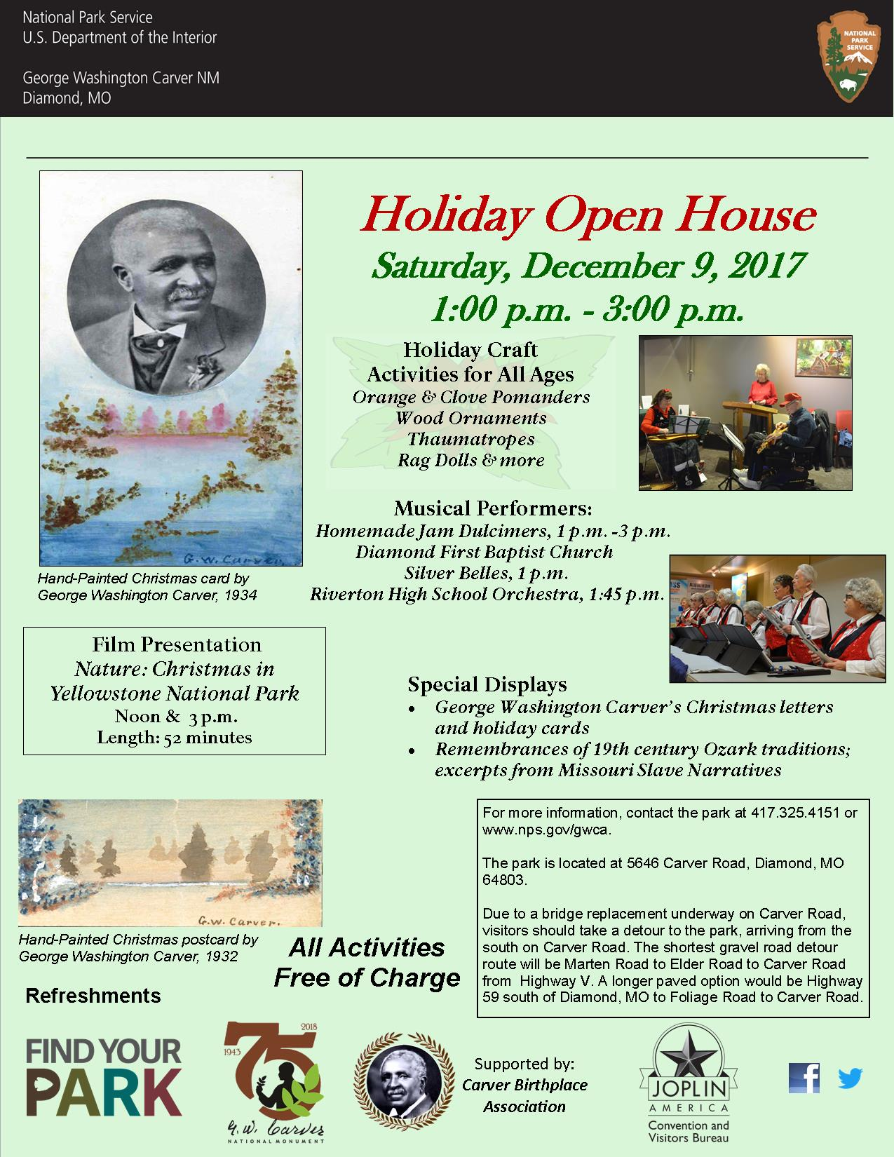 The image is a poster for an upcoming Holiday Open House special event. The image includes photographs of George Washington Carver and music performers. There is also informational text.