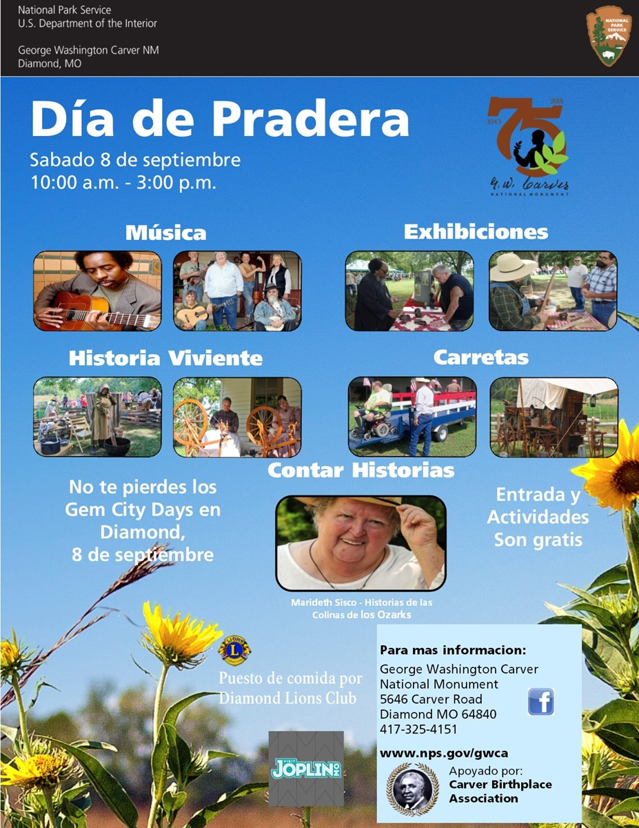 The photograph is for an upcoming special event called Prairie Day. The poster has been translated in Spanish.