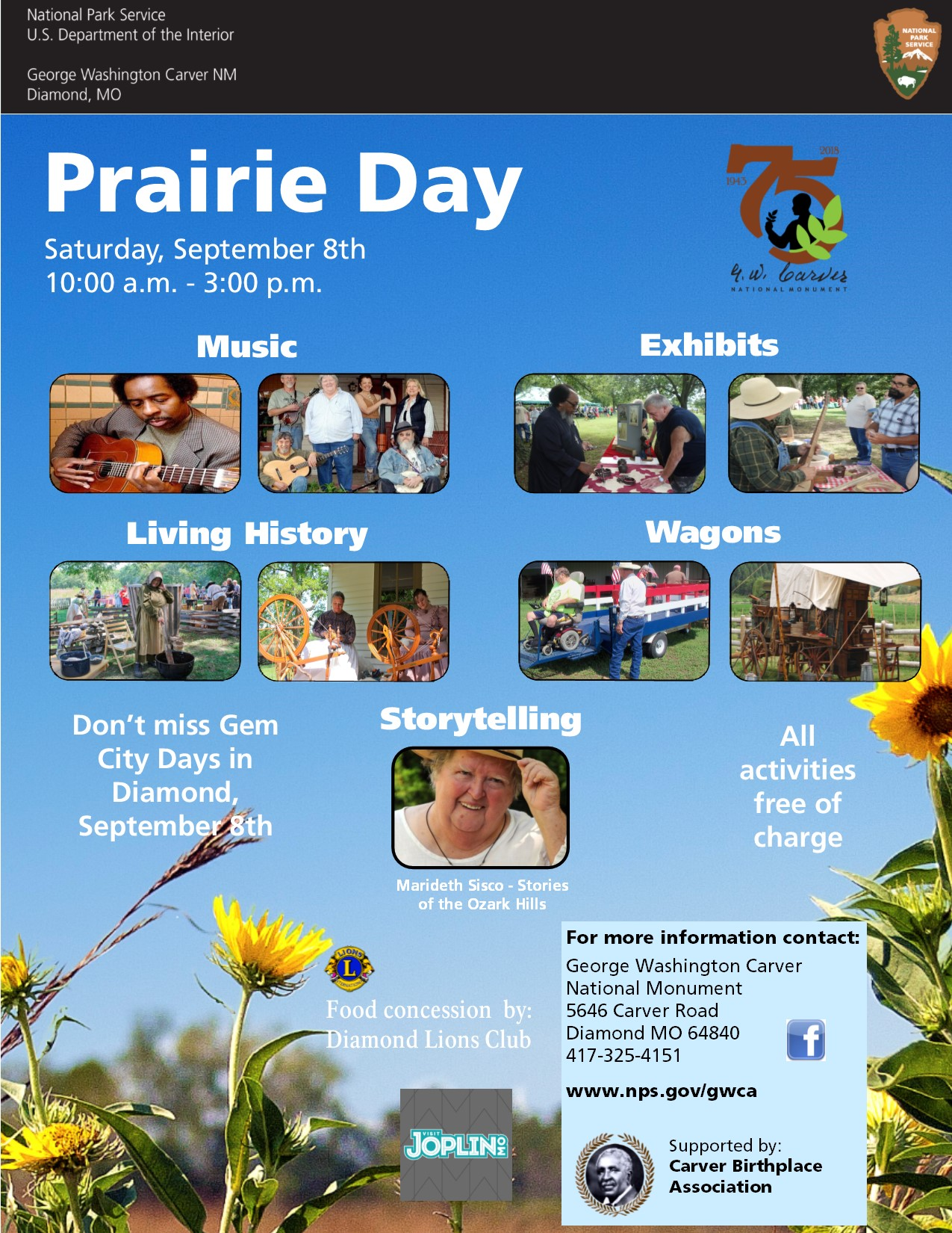 The photograph is for an upcoming special event called Prairie Day. The photo includes images of music performers, storyteller, historic cultural demonstrators, exhibitors and wagon rides. There is also information text about the event.
