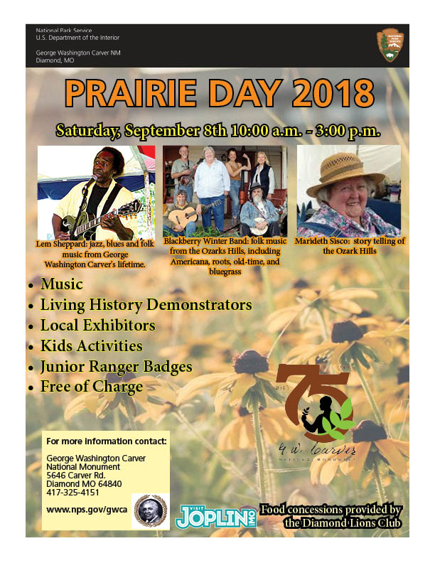 The image is for an upcoming special event  called Prairie Day. Other images include guest performers, cultural demonstrators, park & partners logos, and informational text about the event.