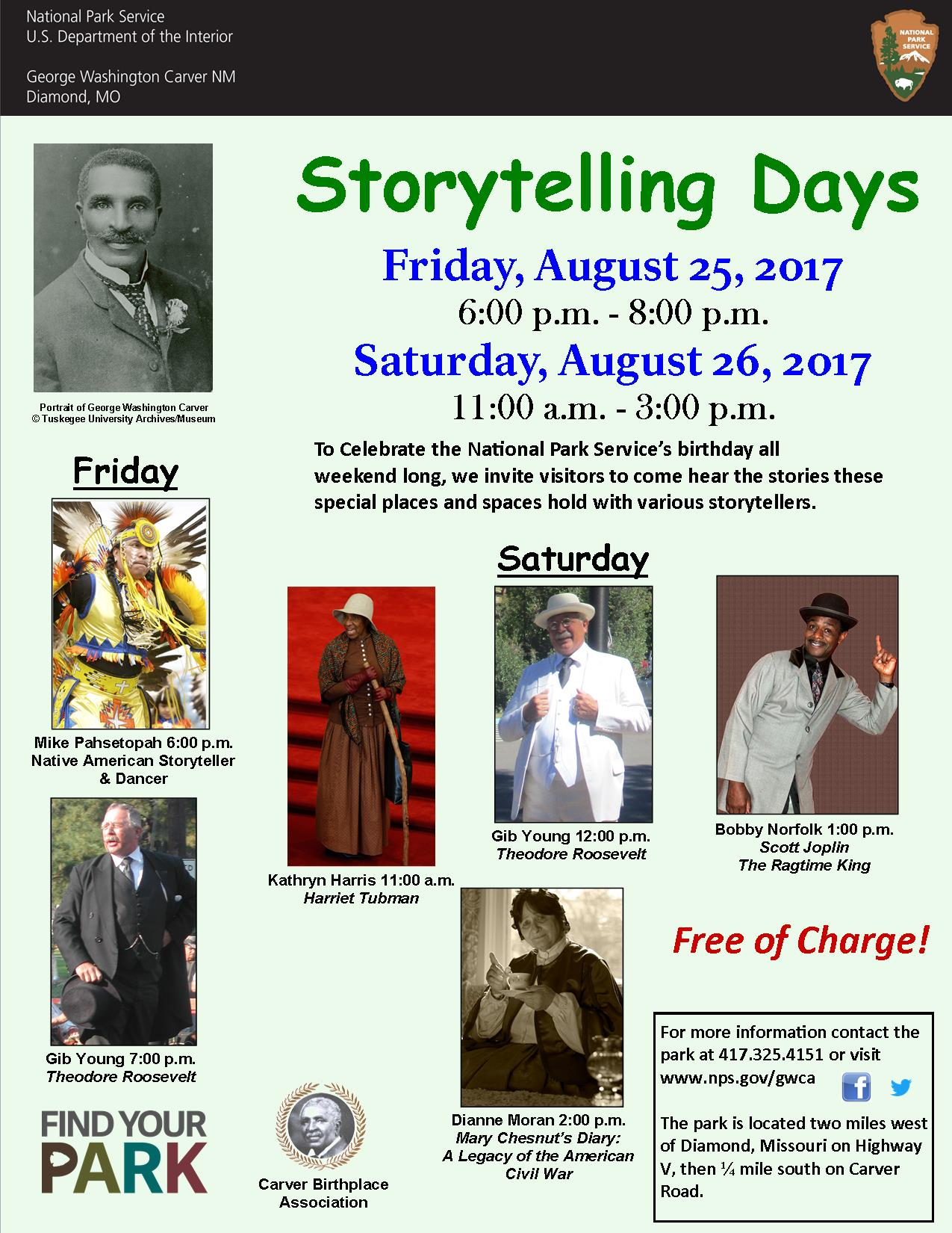 Image includes information about an upcoming event at the park. The photographs also has images of George Washington Carver and storytellers for the event.