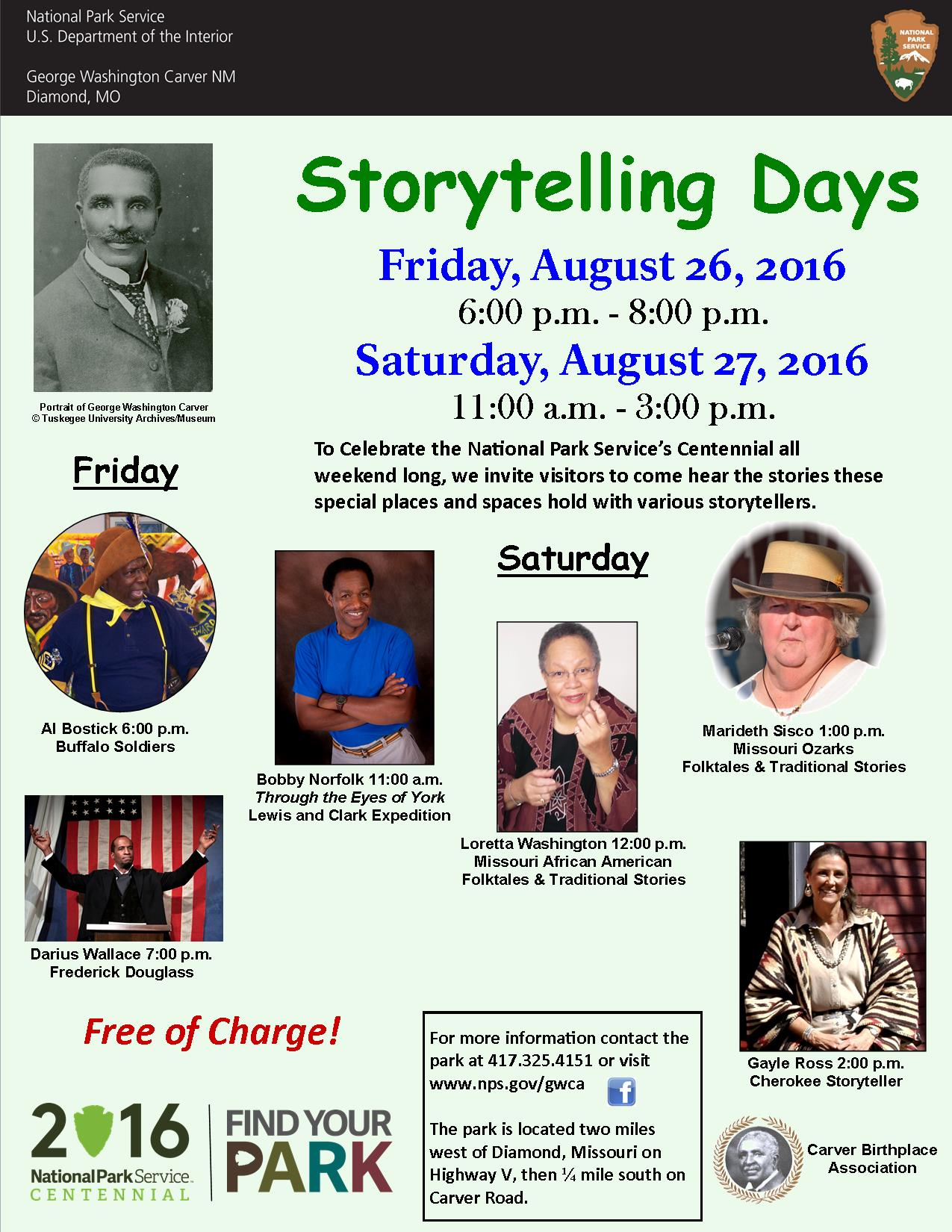 storytelling festival 2016 george washington carver national poster for the storytelling days at the park