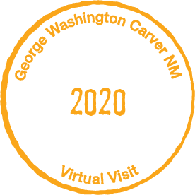 Circular orange stamp with the text George Washington Carver NM  Virtual Visit 2020