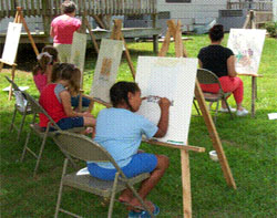 Artists enjoying a beautiful day at the park
