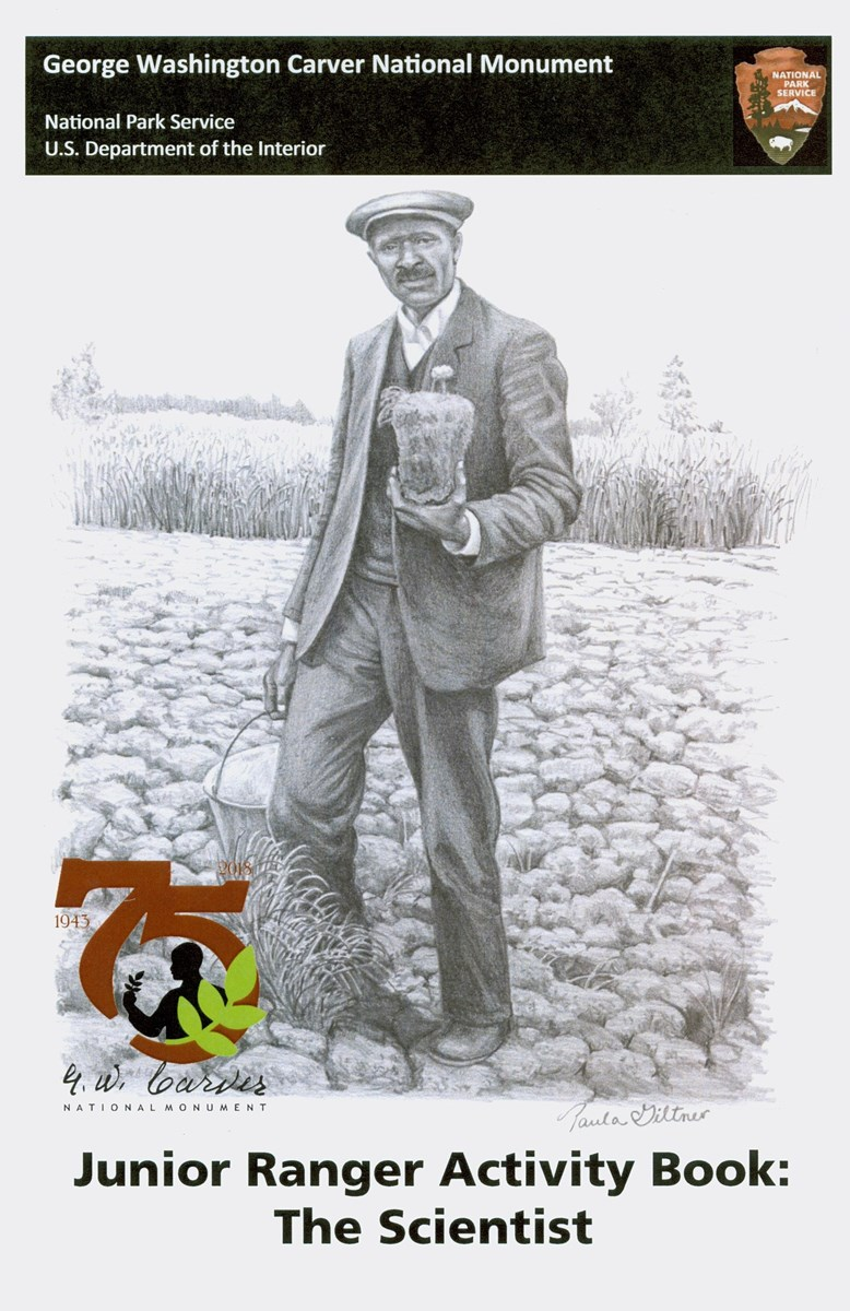 Front cover of the Scientist Junior Ranger activity booklet with a drawing of George Washington Carver.