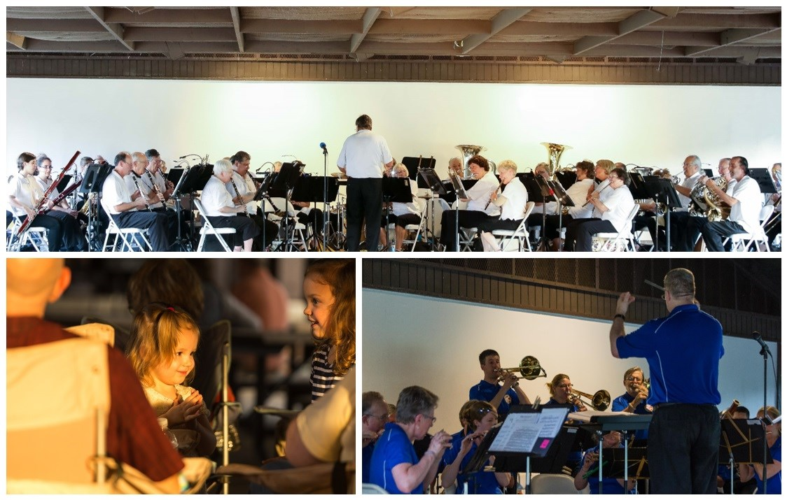 Collage of local bands playing and Fort Hunt visitors enjoying concert