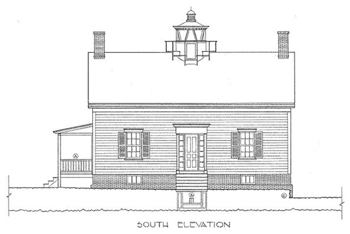 Jones Point Lighthouse Architectual Drawing, South Elevation