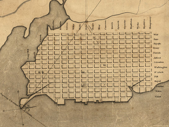 Map of plans for Alexandria, Virginia in 1798