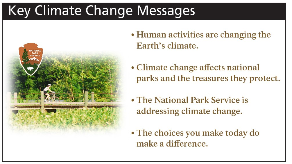 Image of a man on a bike and listing of the key messages of climate change.