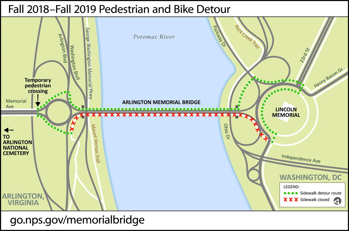 Pedestrians and bicyclists can detour using the north sidewalk on Arlington Memorial Bridge