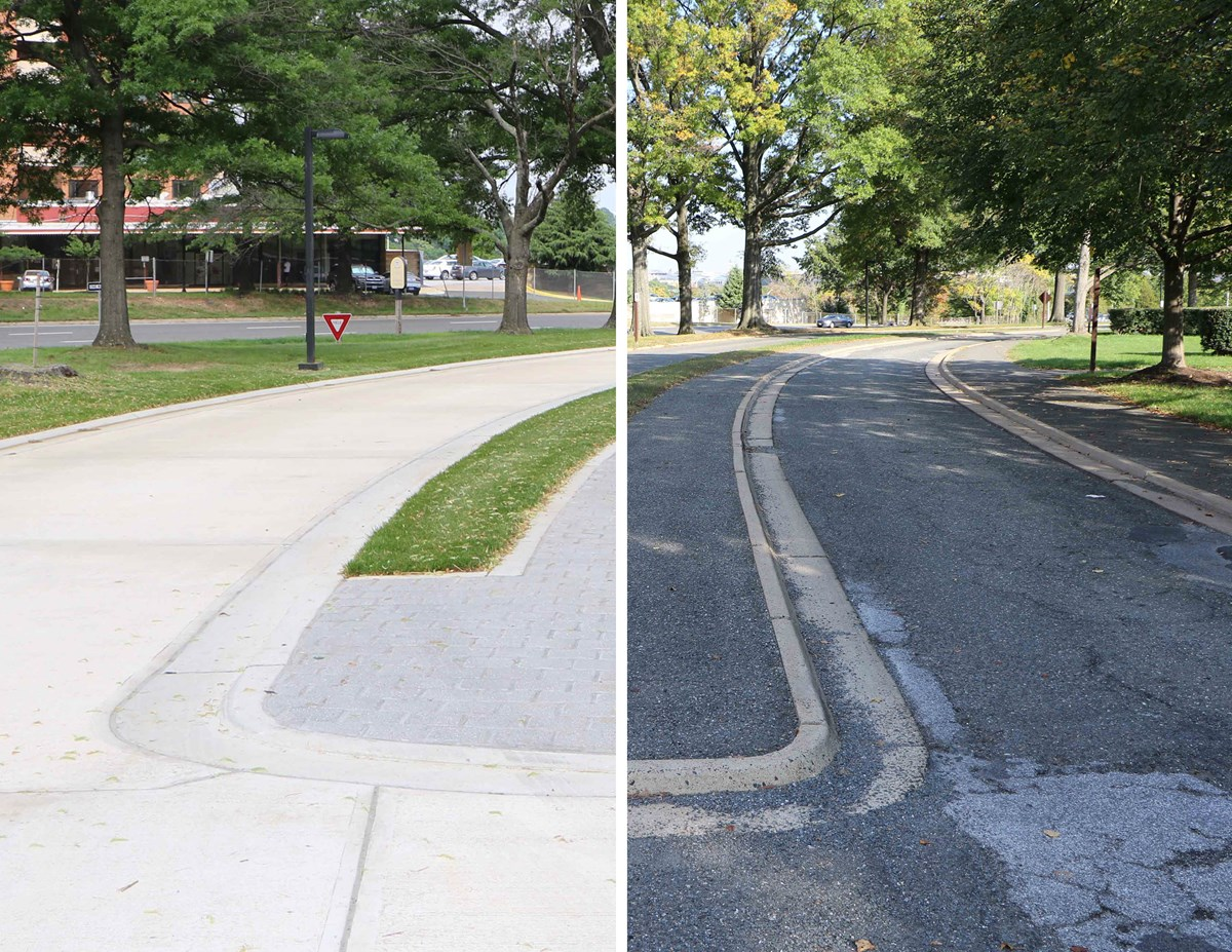 Left side shows the new concrete road and the right shows the old asphalt road.