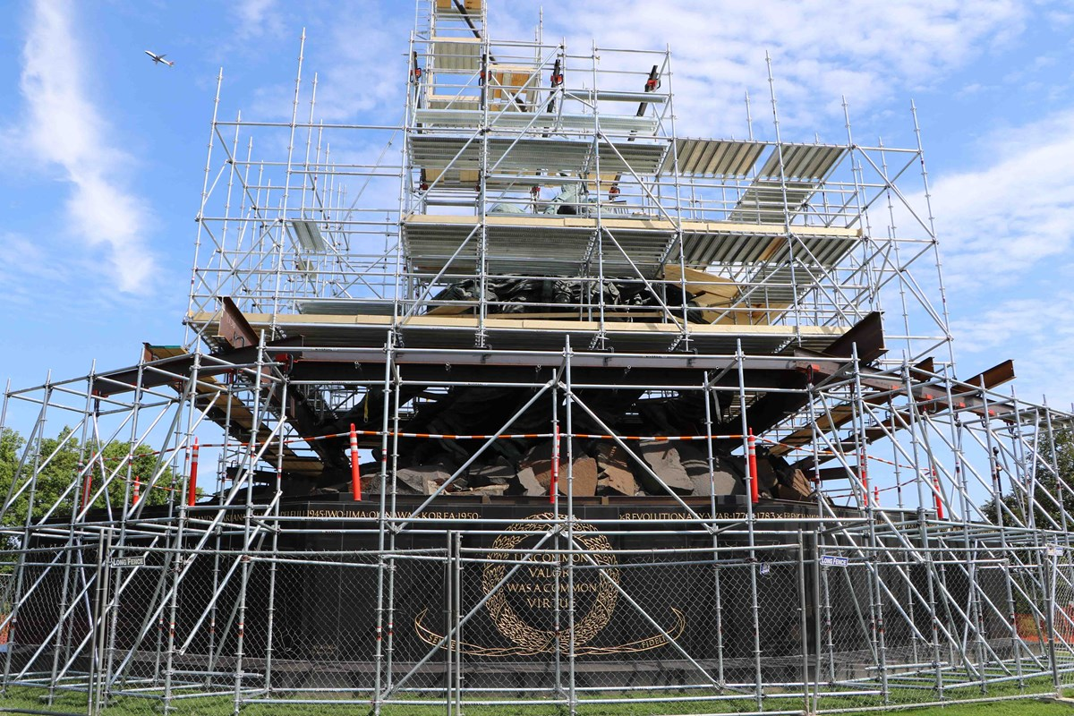 Marine Corps Memorial Covered with Scaffolding