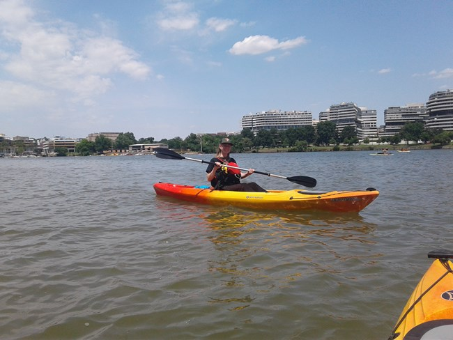 A NPS Ranger in a kayak