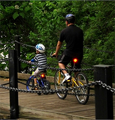 Father and son bicycle on the Mount Vernon Trail