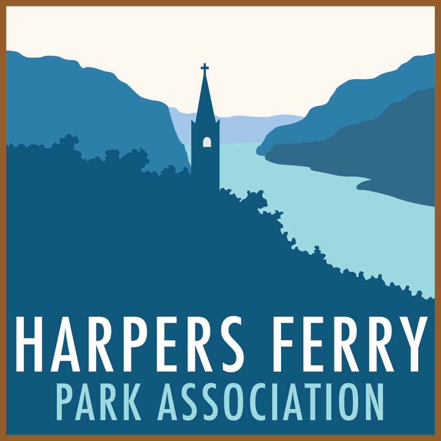 "square image with a brown border; the graphic is various shades of blue, showing a river, a mountain gap, and a church steeple on the landscape. the phrase ""Harpers Ferry Park Association"" is written along the bottom third of the graphic"