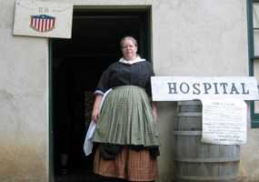 Traci Manning staffs the field hospital during the Soldier's City living history program.