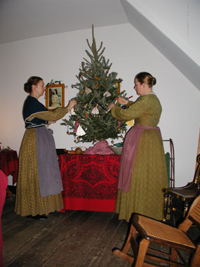 Frederick Ladies decorate for the Christmas festivities.