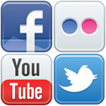 facebook, flickr, twitter, and youtube logos