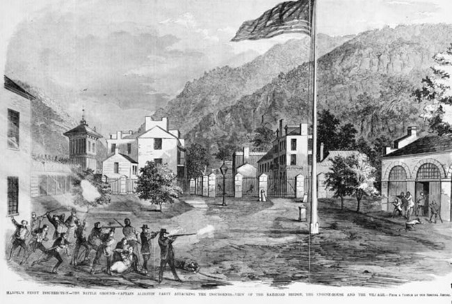 sketch of the action between militia and raiders at Harpers Ferry