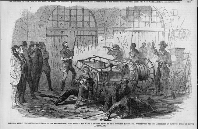 sketch of the raiders and hostages inside of the fire engine house during John Brown's Raid