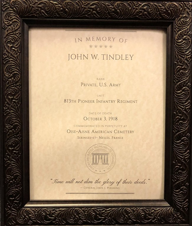 framed certificate from the American Battle Monuments Commission, documenting John W. Tindley's death